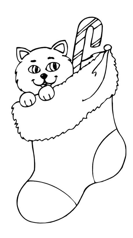 5 Christmas Kittens Colouring Pages Page 2