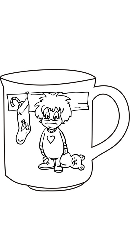 Coloring pages of christmas mugs coloring best free for Hot chocolate mug coloring page